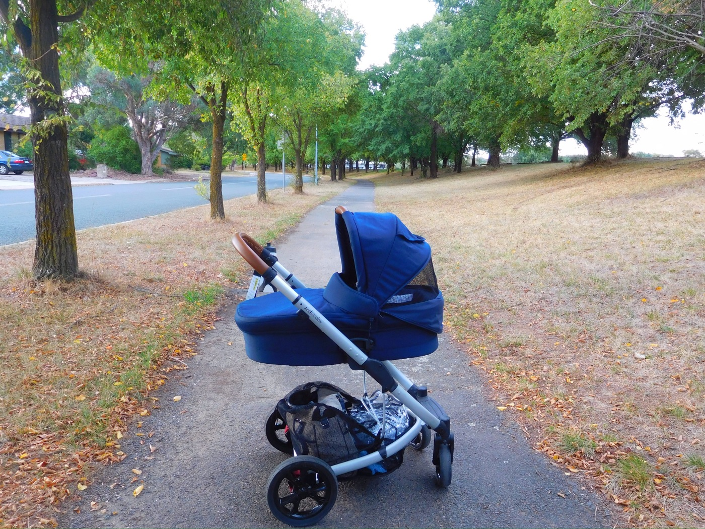 A pram on a footpath in Canberra